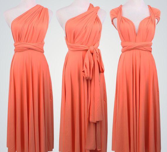 10e8a253295e Set of 5 Coral Short Infinity Dress Set, Infinity Wedding Dress, Best Convertible  Dress, Party Dress