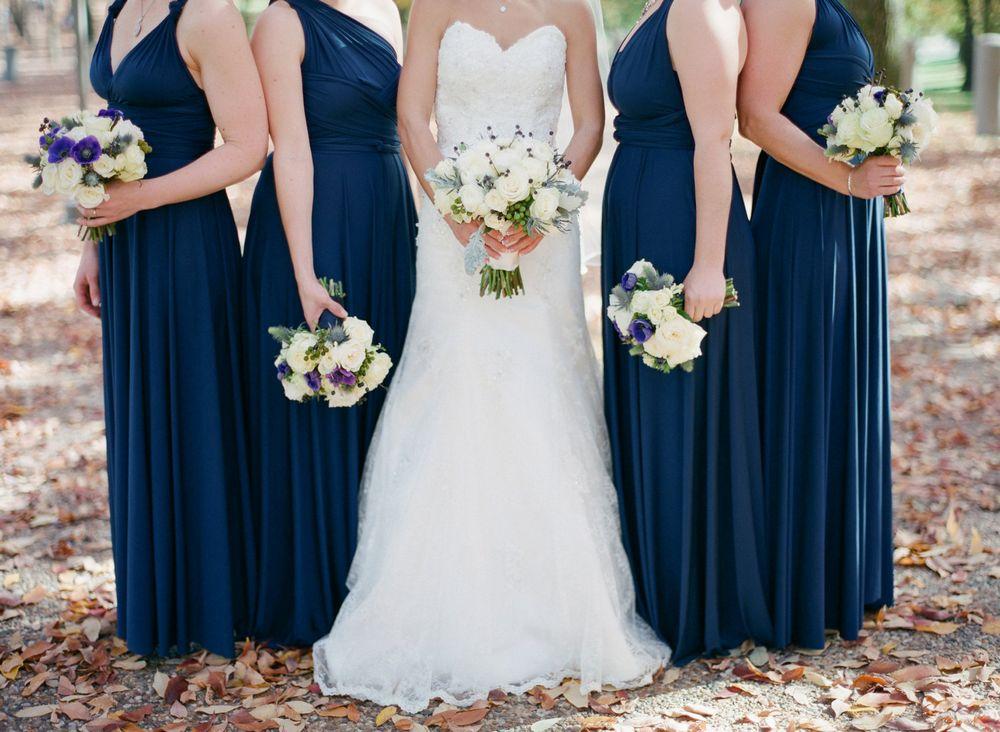 Set of 10 Dark Blue Convertible Dress, Long Infinity Dress, Party Dress, Long Convertible Bridesmaid Dress