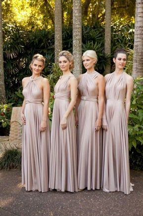 Pack of 3 Long Convertible Dress, Beige Infinity Dress, Convertible Dresses for Bridesmaids