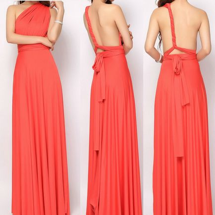 Set of 8 Coral Infinity Dress Set, Pink Convertible Dress, Party Dress, Wedding Party Dress