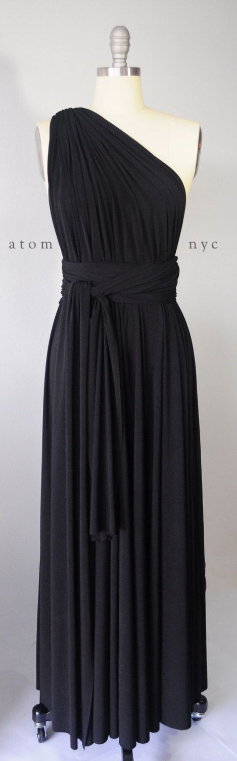Long Infinity Dress Set, Black Wedding Dress Convertible, Floor Length Infinity Dress