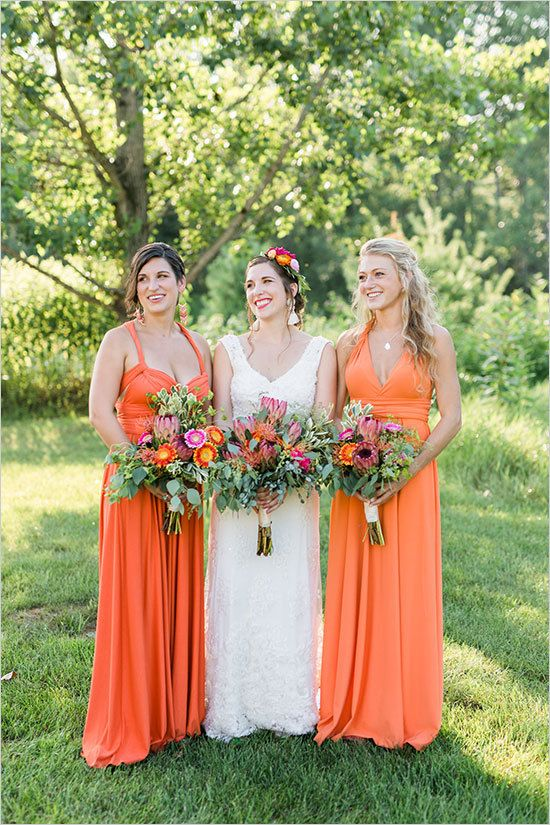 Orange Infinity Dress, Orange Convertible Dress, Wrap Dress Bridesmaid, Convertible Dress