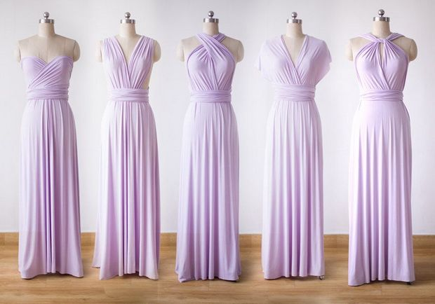 Set of 6 Purple Convertible Dress Set, Convertible Bridesmaid Dress, Bridesmaid Dresses Convertible,
