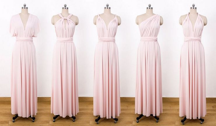 Set of 14 Light Pink Convertible Dress, Long Blush Infinity Dress, Infinity Dress Bridesmaid