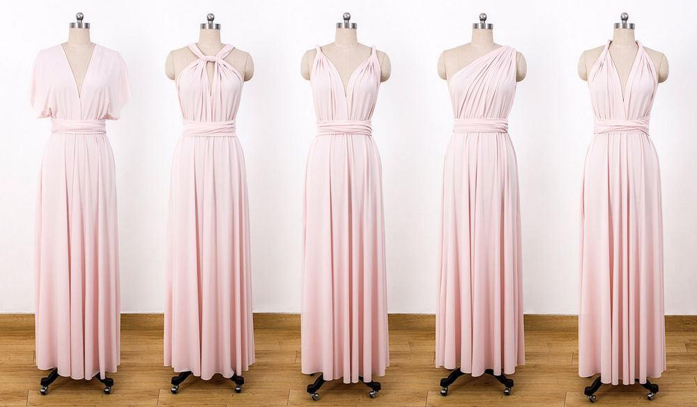 Set Of 14 Light Pink Convertible Dress Long Blush