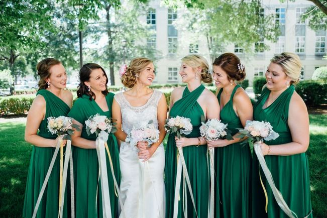 Set of 17 Emerald Convertible Dress Set, Long Green Infinity Dress, Bridal Party, Evening Dress