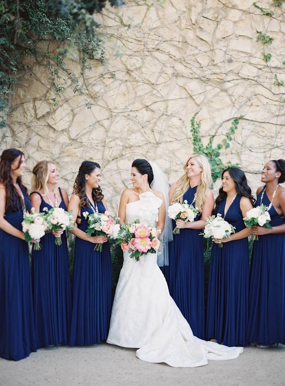 Set of 9 Navy Infinity Dress, Convertible Wrap Bridesmaid Dress, Party Dress, Wedding Dress