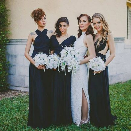 Set of 4 Dark Blue Dress, Long Dark Blue Infinity Dress, Floor Length Infinity Dress, Bridal Party