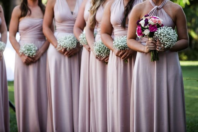 Set of 15 Pink Convertible Dress Set, Long Pink Infinity Dress, Convertible Infinity Bridesmaid Wrap Dress