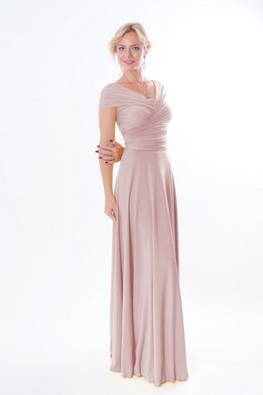 Light Pink Convertible Dress, Pink Infinity Dress, Bridal Party, Evening Dress, Long Dress