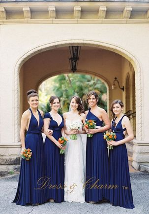 Pack of 7 Dark Blue Party Dress, Long Navy Infinity Dress, Infinity Convertible Dress, Bridal Party