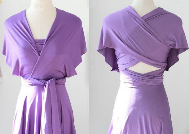 Set of 9 Lavender Party Dress, Long Purple Infinity Dress, Bridal Party, Wedding Dress