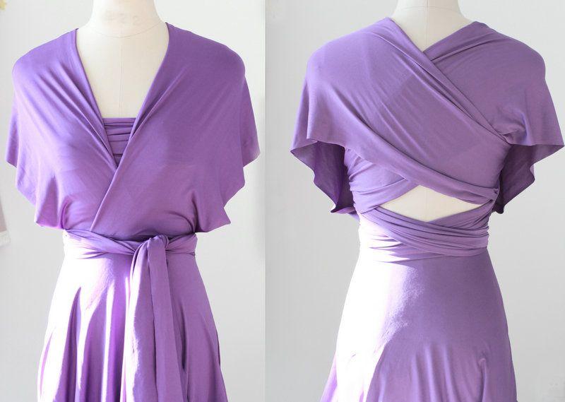 Set of 9 Lavender Party Dress, Long Purple Infinity Dress, Bridal Party, Wedding Dress