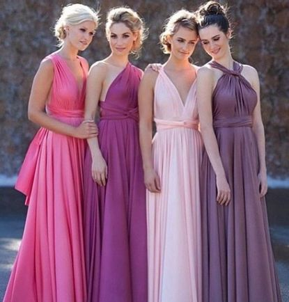 Set of 2 Purple Infinity Dress, Long Convertible Bridesmaid Dress, Bridal Party, Bridesmaid Dress,