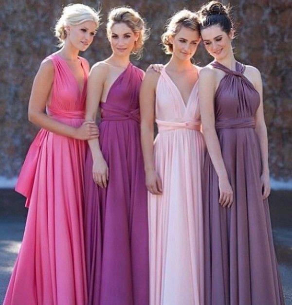 Set of 2 Purple Infinity Dress, Long Convertible Bridesmaid Dress, Bridal Party, Bridesmaid Dress,