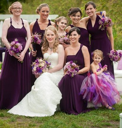 10 Purple Convertable Bridesmaid Dress Set, Wrap Dresses for Bridesmaids, Convertible Wrap Dress Bridesmaid