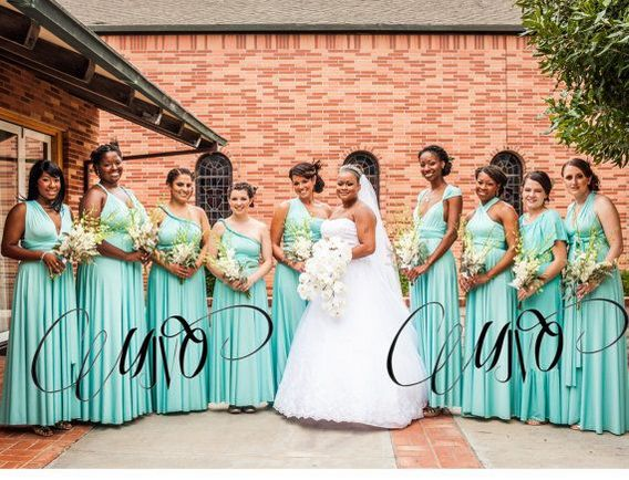 Pack of 9 Convertible Bridesmaid Dresses, Green Infinity Convertible Dress, Convertible Maxi Bridesmaid Dress