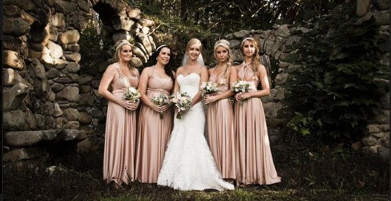 7 Champagne convertible dress Set, convertible wrap dress bridesmaid, bridesmaid infinity dress, Floor Length Dress