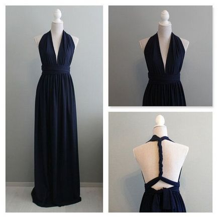 Set of 8 Infinity Dress, Dark Blue Convertible Dress, Floor Length Bridesmaid Dress, Summer Dress, Long Bridesmaid Dresses