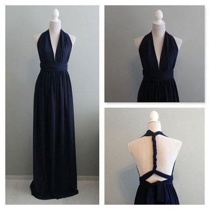 Set of 8 Infinity Dress, Dark Blue Convertible Dress, Floor Length Bridesmaid Dress, Summer Dress, Long Bridesmaid Dresses