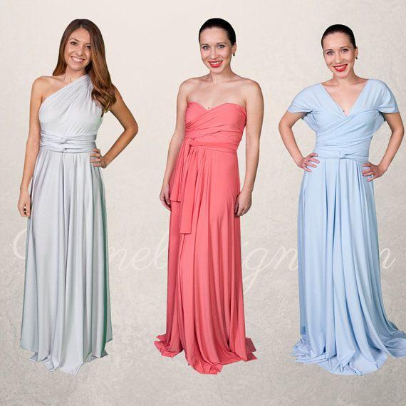 Set of 12 Infinity Bridesmaid Dress, Convertible Wrap Dress, Red Convertible Dress, Floor Length Red Bridesmaid Dress