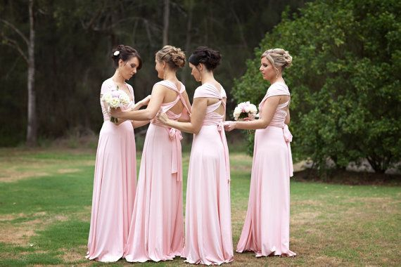 6 Infinity Dress Set, Pink Convertible Bridesmaid Dress, Convertible Infinity Bridesmaid Wrap Dress, Evening Dress