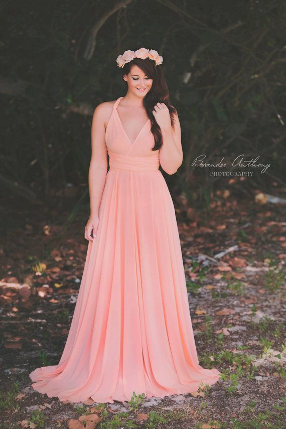 Pink Long Bridesmaid Dresses, Evening Gown Woman Dresses, Long Wrap Dress, Bridesmaid Dress, Infinite Dressed as Girls