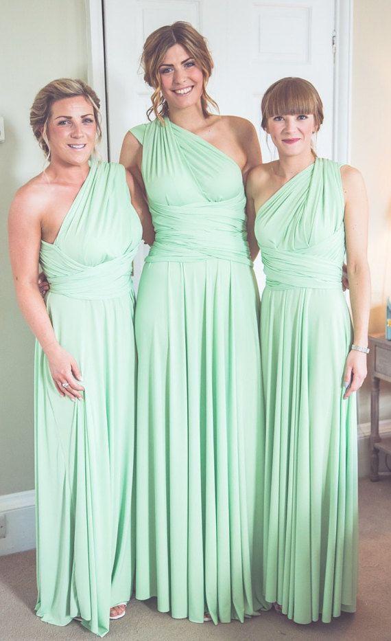 Set of 10 Mint Convertable Dress, Bridesmaid Multiway Dress ...
