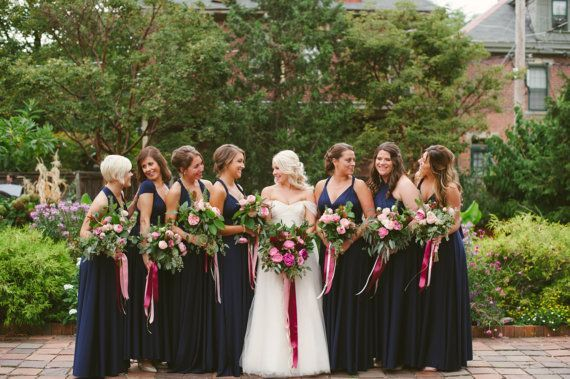 Set of 10 Bridesmaid Dress, Dark Blue Convertable Wrap Dress, Infinity Wedding Dress, Bridal Gift, Bridesmaid Dress