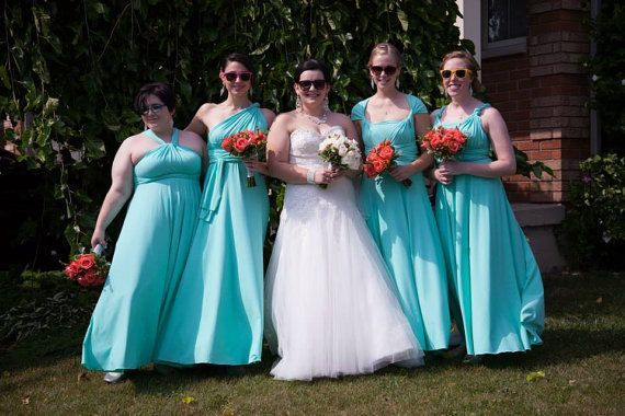 Set of 7 Infinity Dresses, Blue Convertible Bridesmaid Dress, Infinity Dress Plus Size, Floor Length Dress for Bride