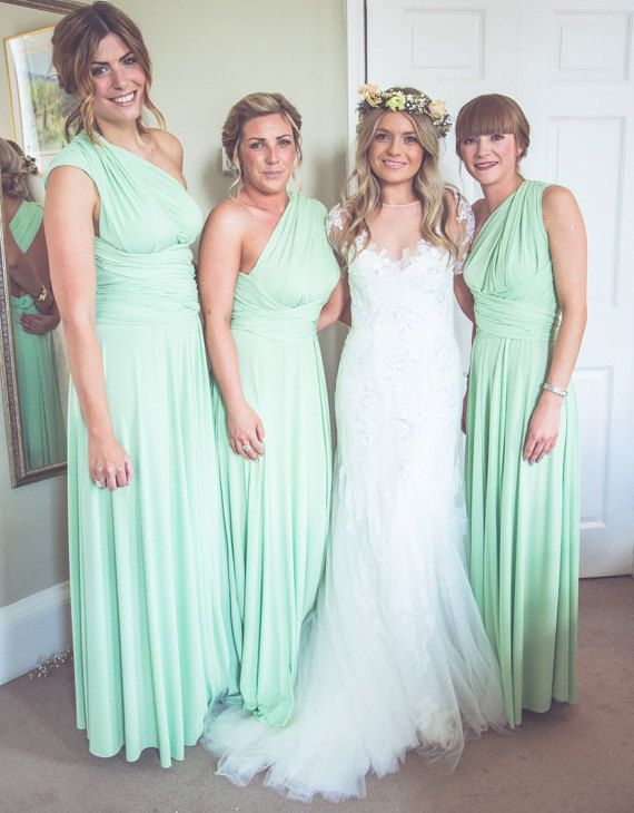 Set of 8 Infinity Dress, Mint Convertible Dress, Floor Length Bridesmaid Dress, Summer Dress, Long Bridesmaid Dresses