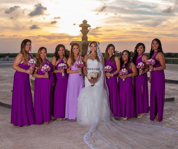 Set of 15 Infinity Dresses, Purple Convertible Bridesmaid Dress, Floor Length Bridesmaid Dress, Garden Wedding Dress