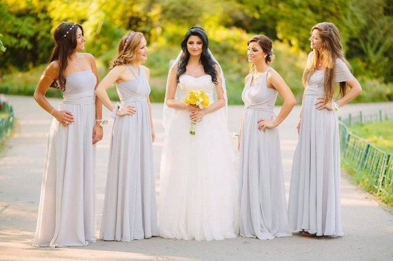 Set Of 5 Light Grey Convertible Long Dress Floor Length Bridesmaid Wrap