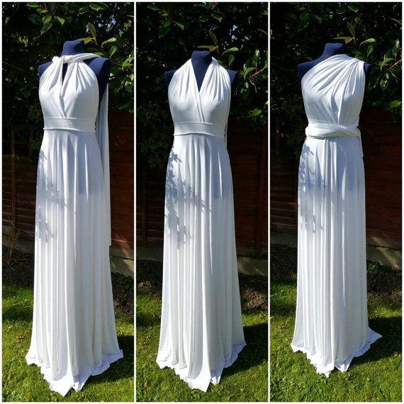 4 Convertible Dress Set, White Floor Length Bridesmaid Dress, Wedding Party Gift, Infinity Wedding Dress, Bridal Gift
