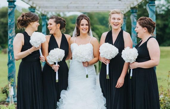 Set of 7 Black Convertible Dress, Floor Length Dress for Bride, Infinity Dress Plus Size, Twist Wrap Dress Long