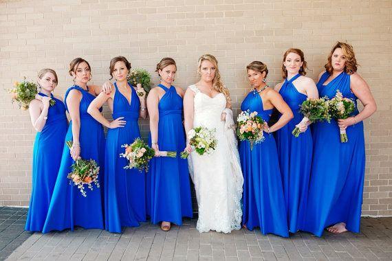 15 Convertible Dress Set, Blue Infinity Dress, Long Wrap Dress, Floor length Bridesmaid Dress, Infinite Dressed as Girls