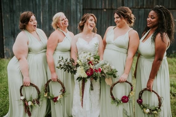 Set of 4 Light Green Infinity Dress, Infinity Dress Plus Size, Convertible Wrap Dress Bridesmaid, Beach Wedding Dress