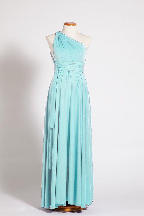 Sky Blue Infinity Dresses, Long Convertible Bridesmaid Dress, Evening Dress, Convertible Evening dress floor length