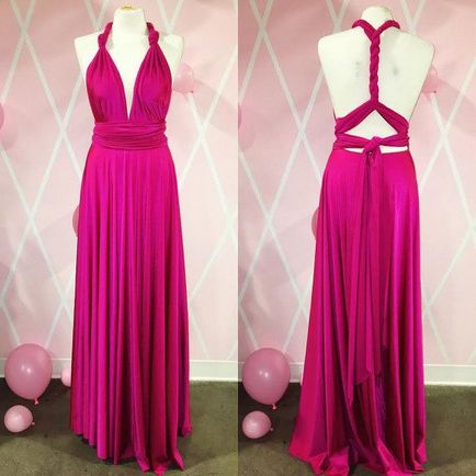 2 Bridesmaid Dress Set, Hot Pink Convertible Maxi Dress, Convertible Bridesmaid Dress Long, Infinity Wrap Dress
