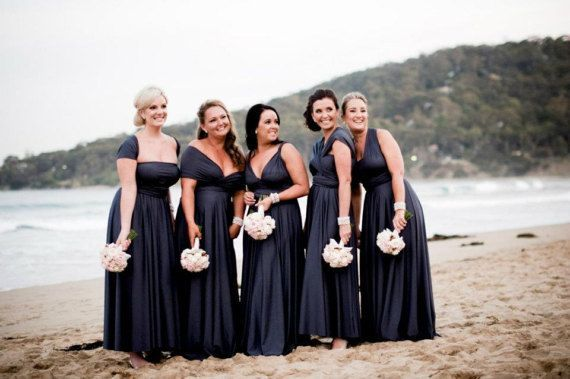 Set of 15 Infinity Dresses, Black Convertible Bridesmaid Dress, Floor Length Bridesmaid Dress, Garden Wedding Dress