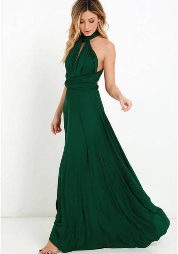 Infinity Dress, Emerald Convertable Dress, Long Infinity Dress, Convertible Wrap Dress Bridesmaid, Bridal Dress