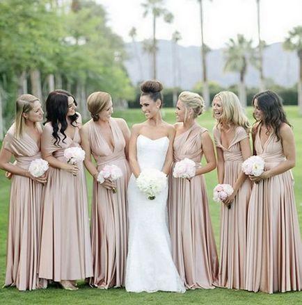 Set of 2 Infinity Bridesmaid Dress, Beige Convertible Dress, Convertible Maxi Dress Bridesmaid, Multi Wear Dress