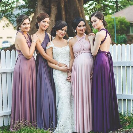Set of 4 Pink, Purple Infinity Dress, Twist Wrap Dress Long, Wedding Dress Convertible, Dress for Party, Wedding Dress