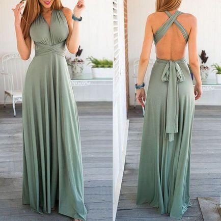 Set of 2 Green Infinity Maxi Dress, Multiway Wrap Dress, Convertible Long Dress, Bridesmaid Dresses Convertible