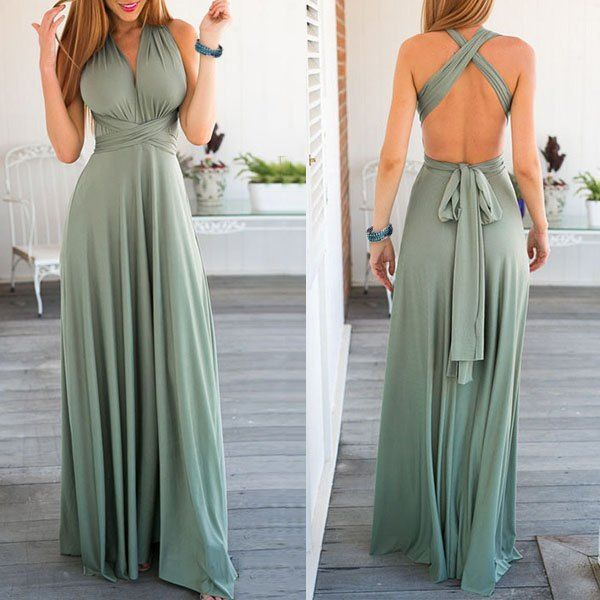 Set of 2 Green Infinity Maxi Dress, Multiway Wrap Dress, Convertible Long Dress, Bridesmaid Dresses Convertible