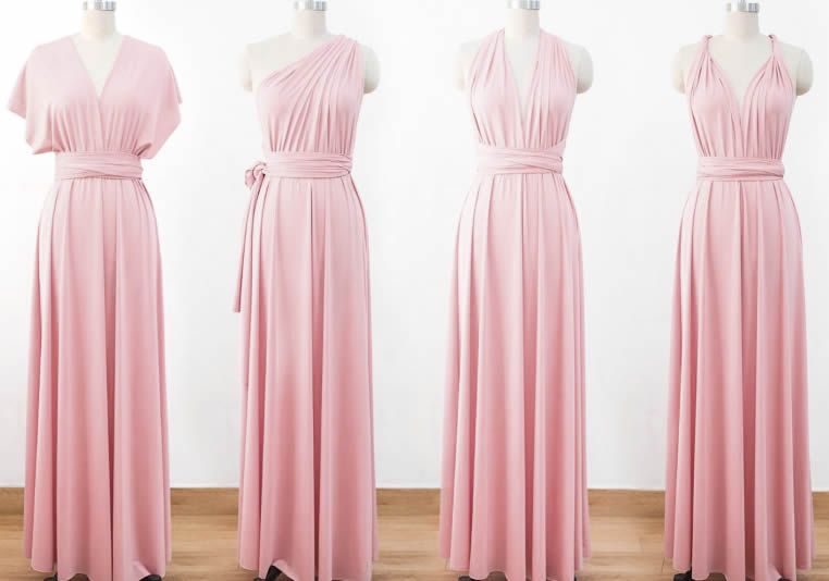 6 Pink Infinite Dress Set, Evening Gown Woman Dresses, Multiway Dress Bridesmaid, Infinity Dresses for Bridesmaids