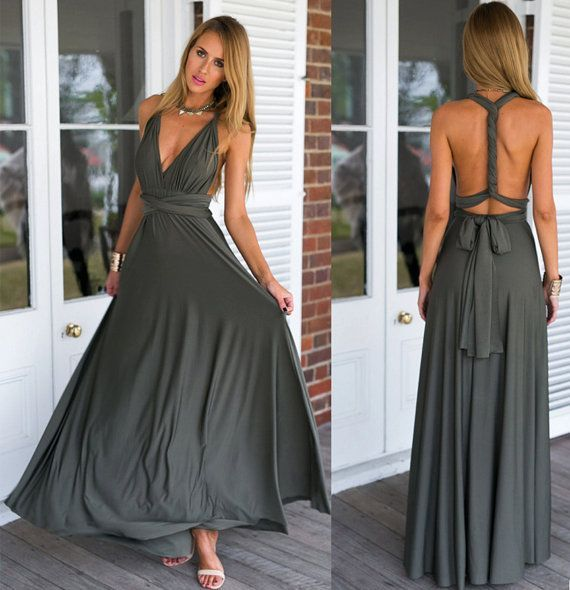 Pack of 2 Infinity Bridesmaid Dress, Dark Grey Convertible Dress, Convertible Bridesmaid Dress Long, Bridesmaid Dress