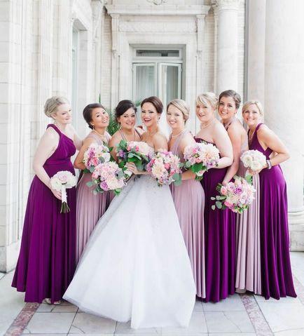 9 Pink, Purple Infinity Dress Set, Long Infinity Dress, Convertible Wrap Dress Bridesmaid, Bridal Dress, Evening Dress
