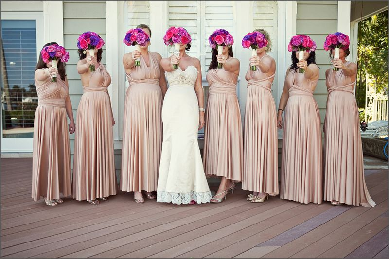 Set Of 8 Champagne Convertible Dress Long Bridesmaid Infinity