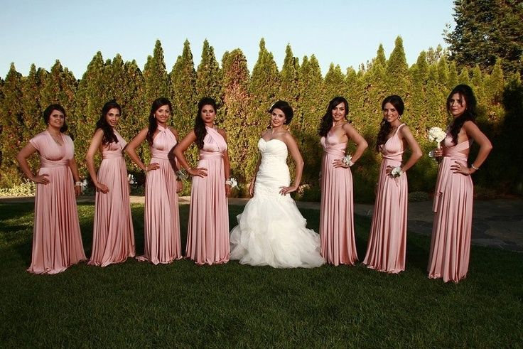Pack of 7 Pink Long bridesmaid Dresses, Bridesmaid Dresses Convertible, Convertible Bridesmaid Dress Long, Maid of Honor Dress